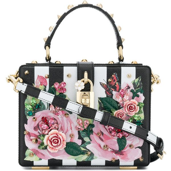 Dolce & Gabbana Dolce Box bag ($3,827) ❤ liked on Polyvore featuring bags, handbags, multicolour, summer handbags, striped handbags, white handbag, multicolor handbags and studded purse