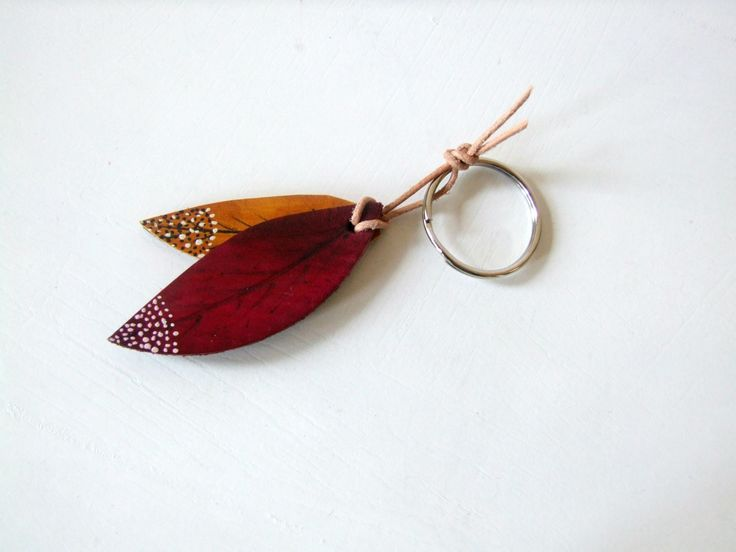 Autumn Leaves, Leather Key Ring, Key Fob,  Handmade in UK, Gift under 15 USD, Leather Gift for Her - pinned by pin4etsy.com