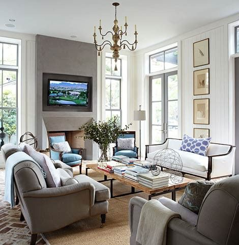Decor taupe blue living room hamptons m a g n for Grey and brown living room ideas