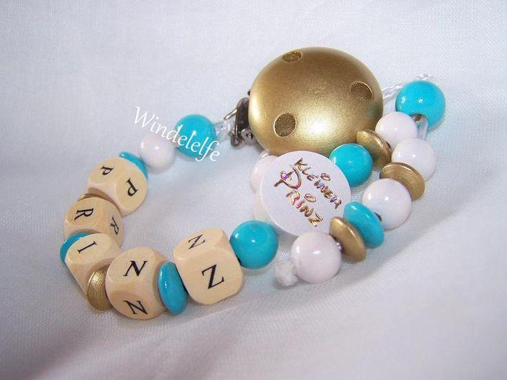 ♥ Schnullerkette mit Wunschnamen ♥ von Windelelfe auf DaWanda.com