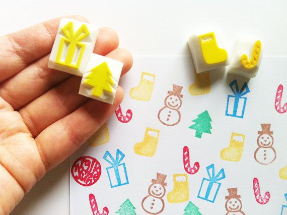 mini christmas decor stamps. hand carved rubber by talktothesun