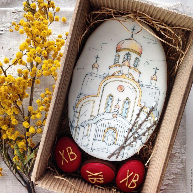 Купить Пряник Церковь с вербой - комбинированный, подарок, имбирные пряники, имбирное печенье, на заказ, для детей