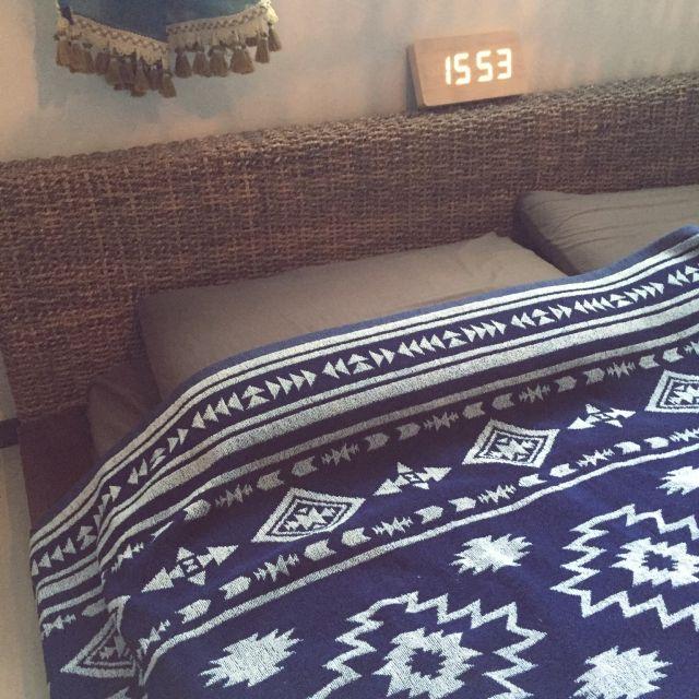 yukalitaさんの、ベッド周り,エスニック,アジアン,タオルケット,しまむら,ミックススタイル,ネイティヴ柄,しまパト,のお部屋写真
