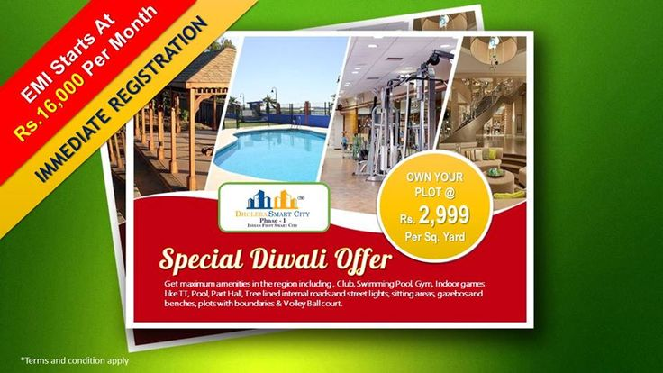 Special #Diwali Offer!! Book a Plot for Just Rs. 2,999 Per Sq.Yard and Make it Yours......EMI Starts from 16000/- Per Month. For further details Visit: https://goo.gl/l4zcLH You can reach us Here: info@dholera-smart-city.com Or Call: +91 7042878445, +91 8860576166, +91 7600510403, +65 84247380