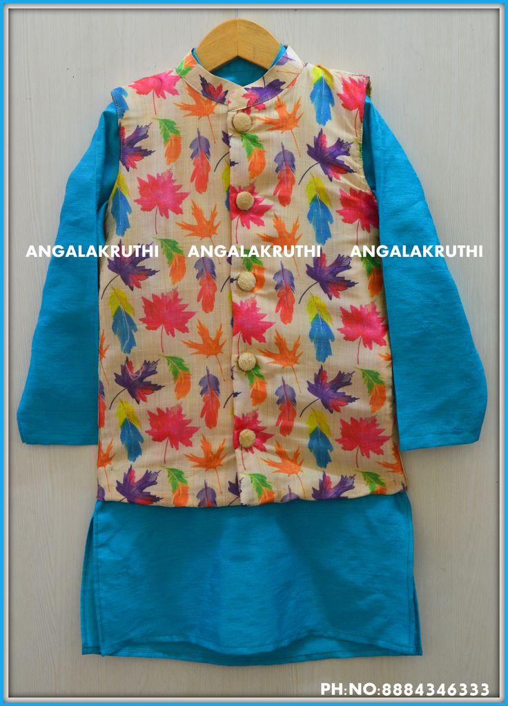 #Kurta with coat for boys by Angalakruthi boutique bangalore