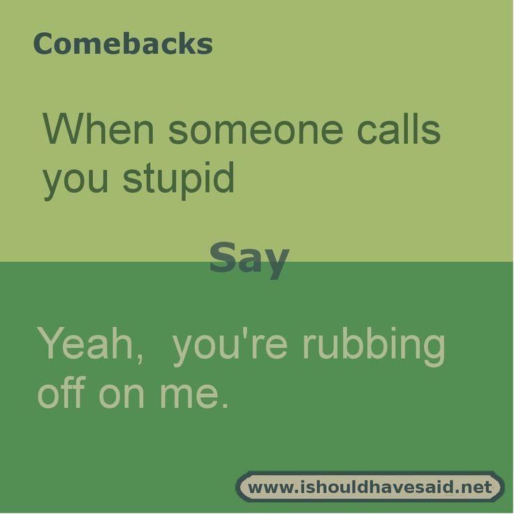 People Who Call Others Stupid Quotes Funny Insults And Comebacks Sarcasm Comebacks Sarcastic Comebacks
