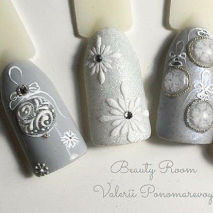 Winter 2017 elegant silver holidays Christmas nail art Luxury Beauty - winter nails - http://amzn.to/2lfafj4