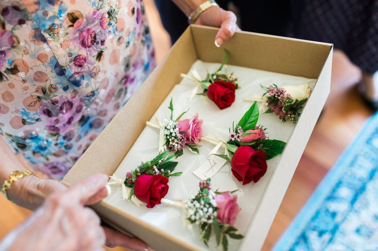 Wedding buttonholes and boutonnieres for groom. Wedding theme of Asian/Australian fusion, feminine with some deep reds. See more here. | Lime Tree Bower