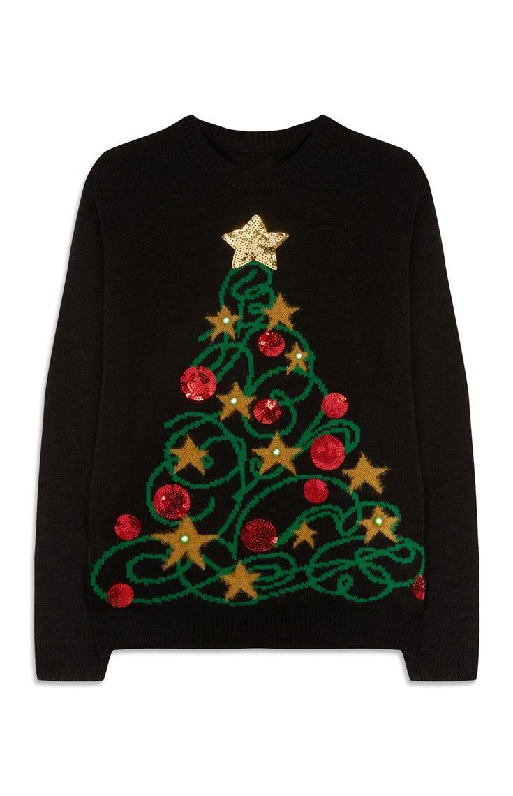 Trui met kerstboom en -verlichting