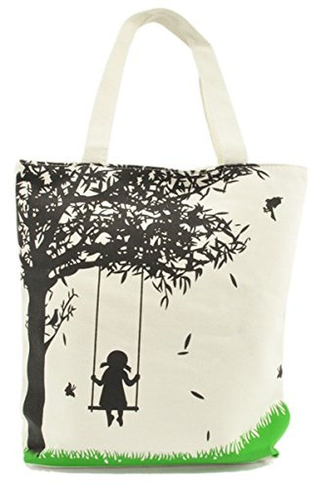 LSW Girl on Swing Canvas Tote Bag
