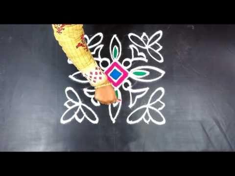 Easy Kolam Techiques   Varalakshmi Vratham Unique Rangoli Design by Sunitha 7x7 dots - YouTube