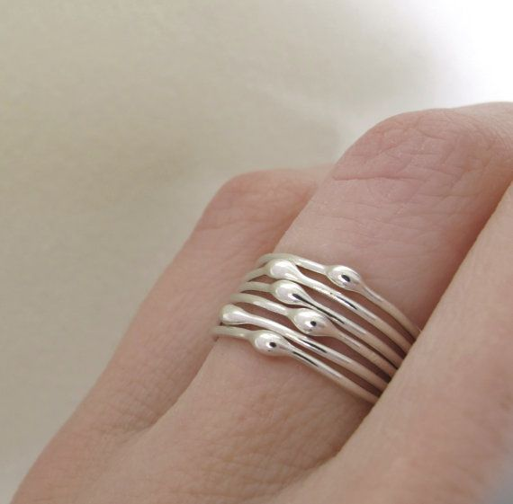 Sterling Silver Stacking Ring Set Rain Set of Six by esdesigns