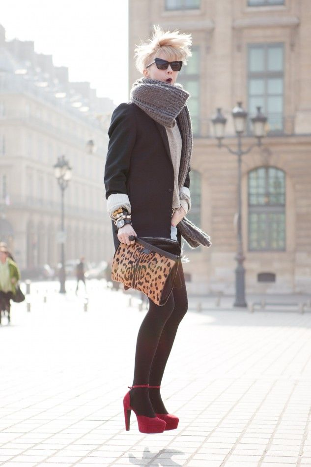 black tights / red heels: Leopards Clutches, Inspiration, Leopards Jumping, Scarfs Blazers Tights Heels, Jumping Jumping, Cute Outfits, Red Heels, Dark Lips, Black Tights