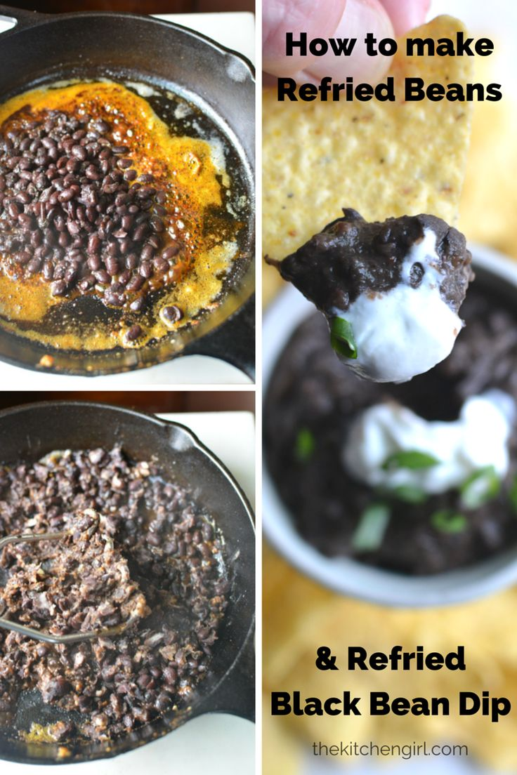 Refried Black Beans and Bean Dip from scratch...ridiculously delish! Make it part of your weeklly routine | thekitchengirl.com #vegan #glutenfree #healthysnack