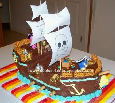 Pirate Ship Cake: After a lot of online research (including this website), I made this Pirate Ship cake for my son's second birthday.    Using two boxed marble cake mixes,