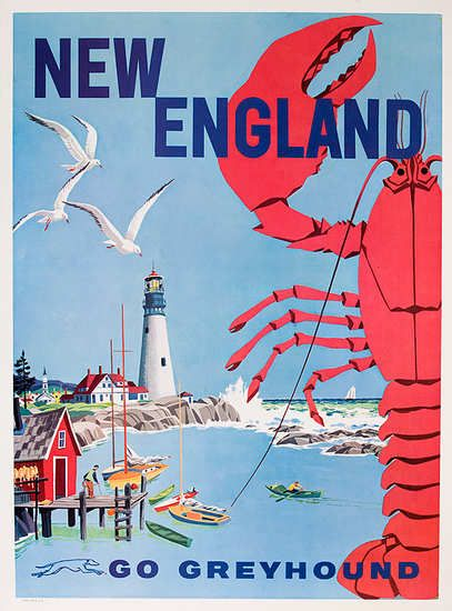 DP Vintage Posters - New England Go Greyhound Original Bus Travel Poster