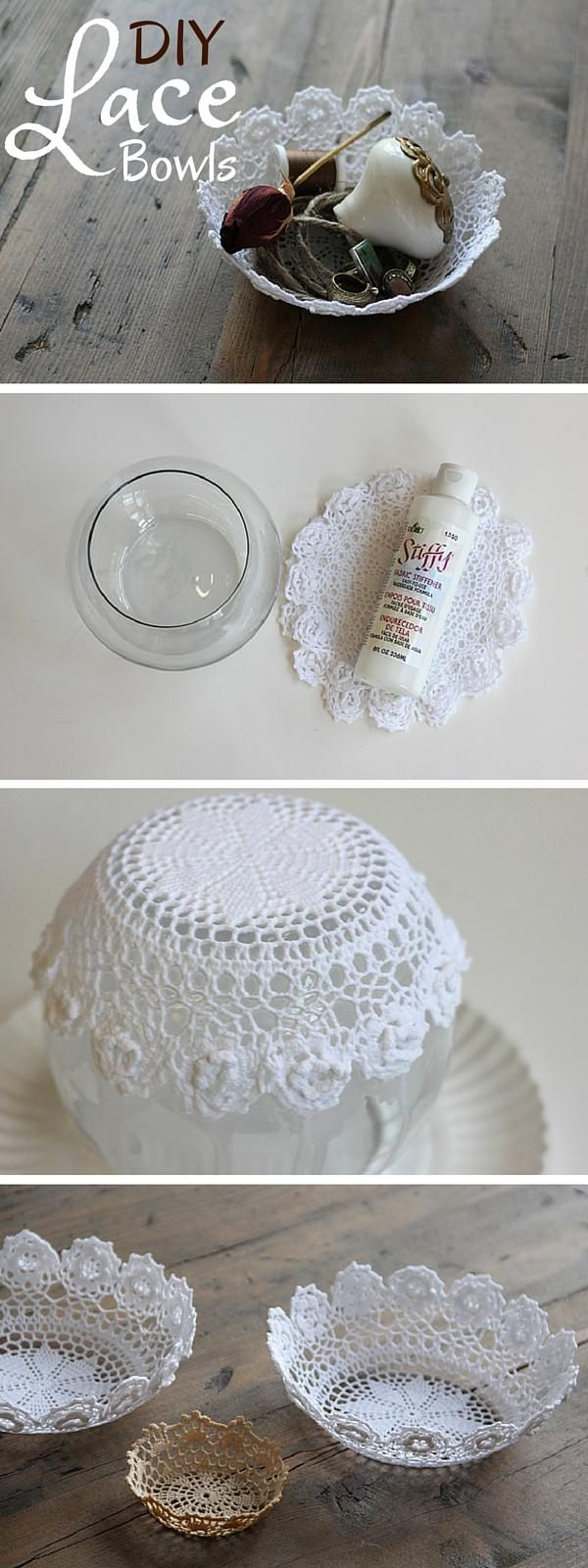 What you need: doilies (I ordered them from this website), fabric stiffener (I found this at A.C. Moore), and a bowl. Choose a bowl that will allow you to drape the doily over the bottom of to create a bowl shape. More info and instructions about this great tutorial you can find in the source url […]