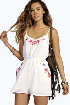 Ali Embroidered Cross Back Cotton Playsuit