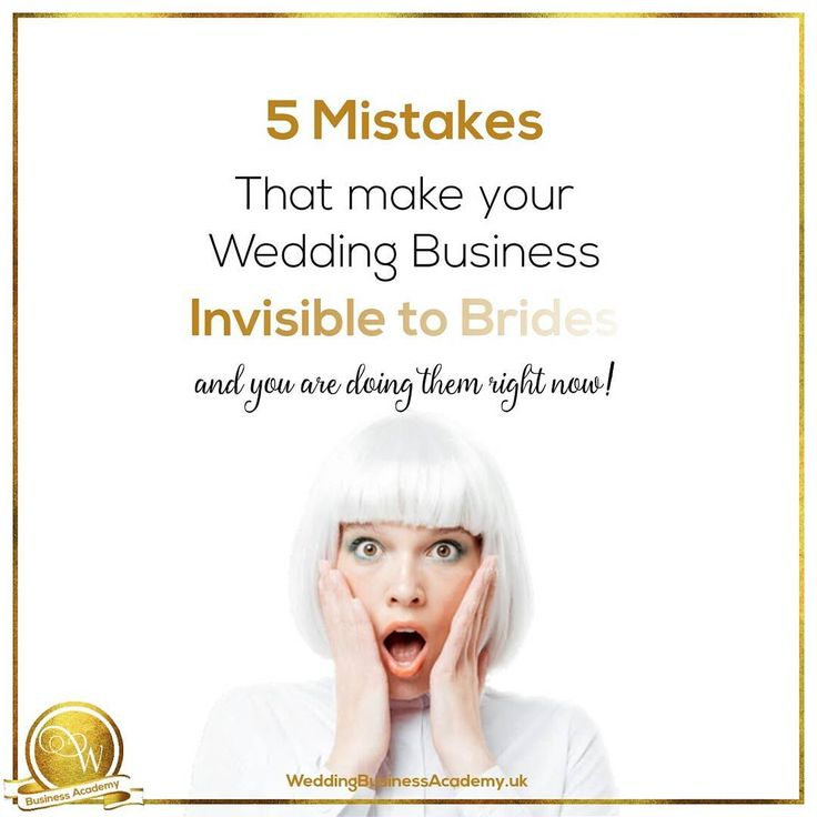 Book more brides with your wedding marketing Are you making these 5 mistakes right now?  A simple business formula : Your product/service + paying perfect customers = profitable business  You are in the wedding industry and your paying perfect customers (the people who will buy from you) are brides and grooms. Your business must offer them a product/service they need relating to their weddy...