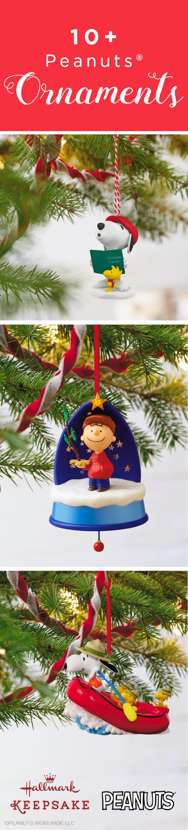 Celebrate this Christmas season with Charlie Brown and Snoopy! Hallmark Keepsake Ornaments offers a selection of your favorite Peanuts® characters to bring a touch of tradition to your Christmas tree decorations. Whether it's Snoopy gliding through the sky or Charlie Brown making a snow angel, you're bound to find the perfect ornament reminding you of holidays past and present. Shop online or at your nearest Hallmark Gold Crown store.