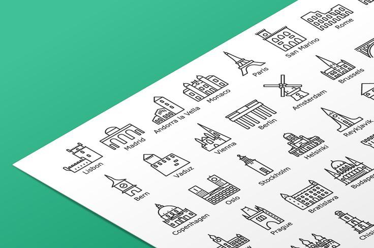 """다음 @Behance 프로젝트 확인: """"Landmark Icon Sets"""" https://www.behance.net/gallery/40549147/Landmark-Icon-Sets"""