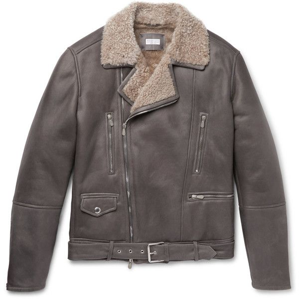 Brunello Cucinelli Belted Shearling Biker Jacket ($7,200) ❤ liked on Polyvore featuring men's fashion, men's clothing, men's outerwear, men's jackets, mens shearling jacket, mens belted jacket and men's sherpa lined jacket