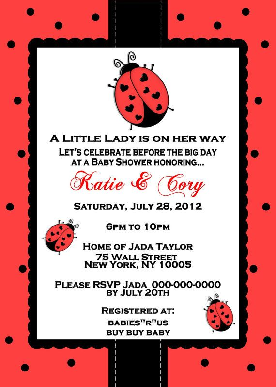 Little Ladybug Baby Shower Invitation I will do Ladybug themes!!:)