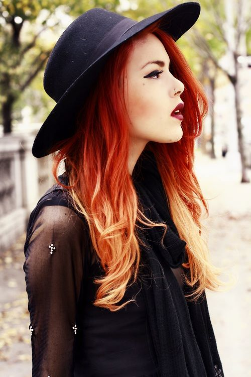 Red/blonde ombre hair