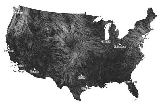 Wind Map pulls in hourly data from the National Digital Forecast Database, tracing wind speed and direction in near real-time while providing nationwide maximum and average figures. The result is something remarkably similar to NASA's Perpetual Ocean video, only Wind Map is an interactive, zoomable, and constantly changing project.