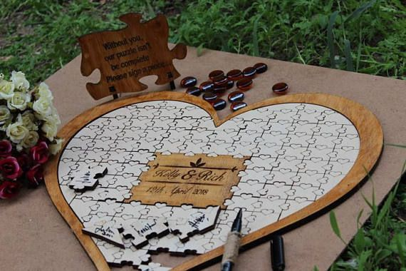 Puzzle Gastebuch Alternative Hochzeits Gastebuch Holz Puzzle Guest Book Wedding Puzzle Wood Guest Book