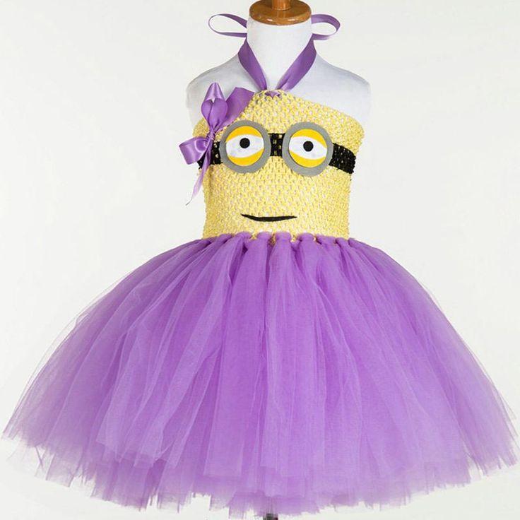 Rose & Violet Minions Cute Lace Dress Petti Enfants Fille Robes Tutu Tenues Anniversaire Despicable Me Costume Enfants Vêtements
