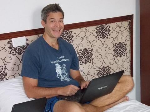 Me RB working in Hanoi, Vietnam.