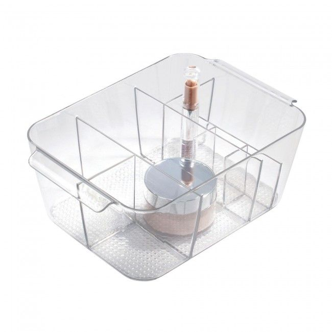 Store all your cosmetics in a handy InterDesign Clarity Divided Cosmetic Bin. Multiple storage compartments make it easy to organize all your cosmetics and handles make it easy to carry wherever you may need it.
