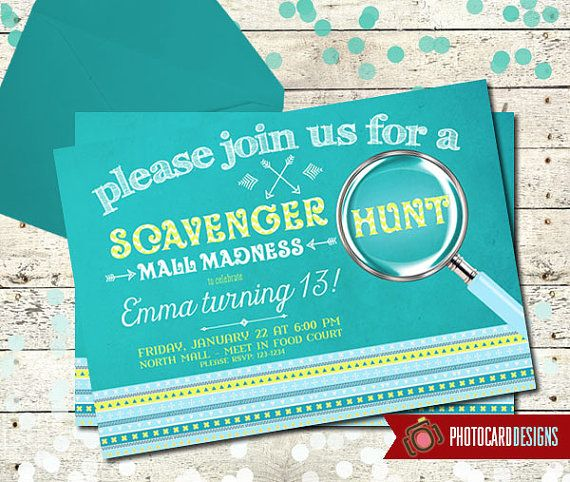 Scavenger Hunt Birthday Invitation | Road Rally | Card | Invite | Tribal Aztec | Digital | Print file | Girl | Boy | Party | Mall Madness