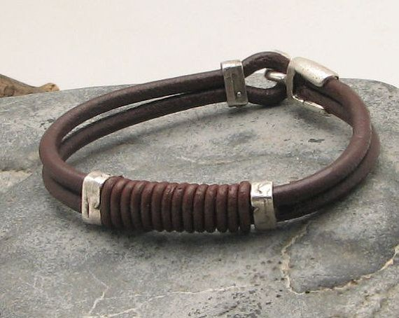 FREE SHIPPING Men's leather bracelet Multi strand by eliziatelye, $24.00