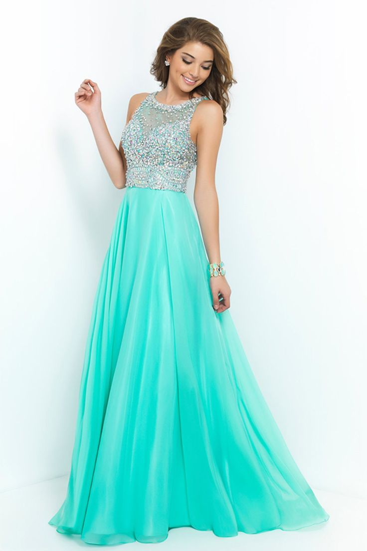 2015 Bateau A Line Prom Dresses With Long Chiffon Skirt Beaded Bodice USD 169.99 LGP73YL8FT - LovingGowns.com