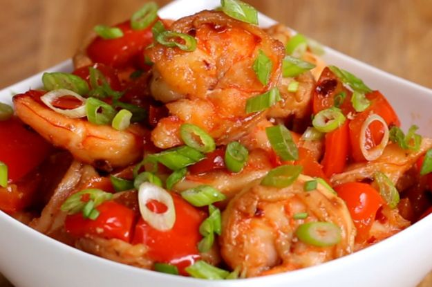 Here's a video showing you how to make the recipes:   This Four-Way Shrimp Stir-Fry Will Make Hump Day So Much Better