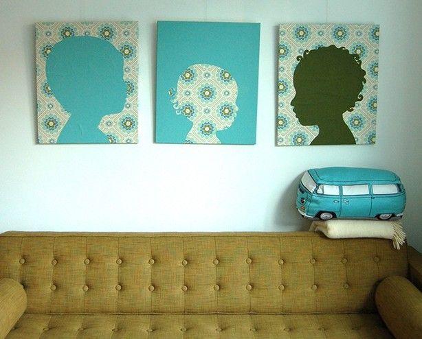 Dit kan iedereen maken met behang, verf, printer en camera! Maak een foto en print deze vergroot uit (in delen op A4), knip hem uit en gewoon overtrekken maar.