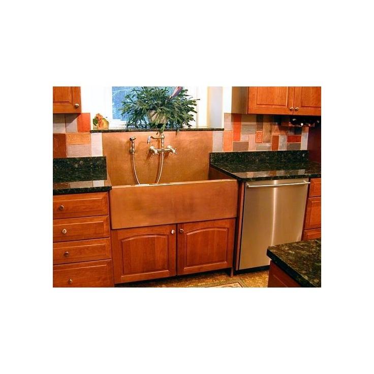 Apron Front Sink With Backsplash : Copper Apron front sink with backsplash Kitchen Pinterest