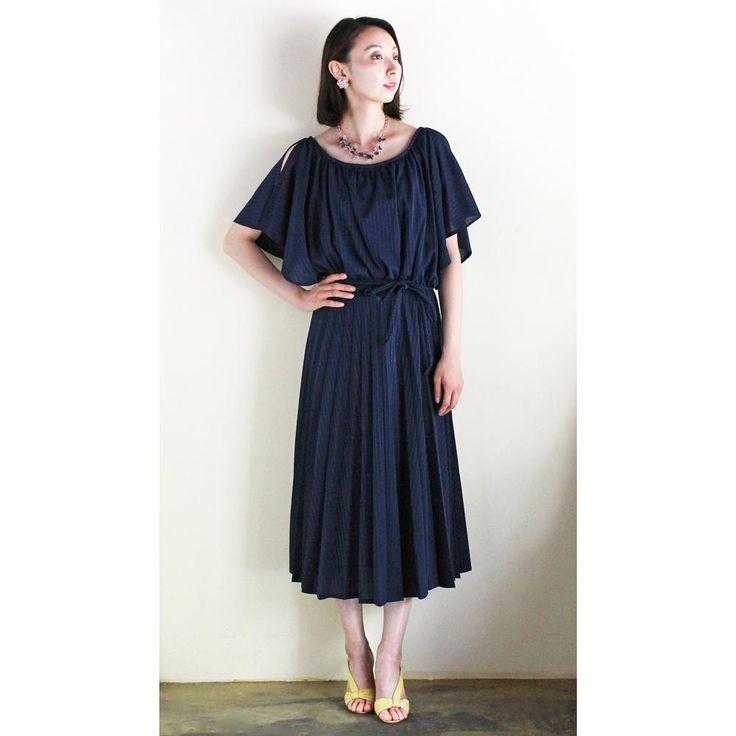C.1970s Vintage Pleats Dress (Navy) / ヴィンテージドレス
