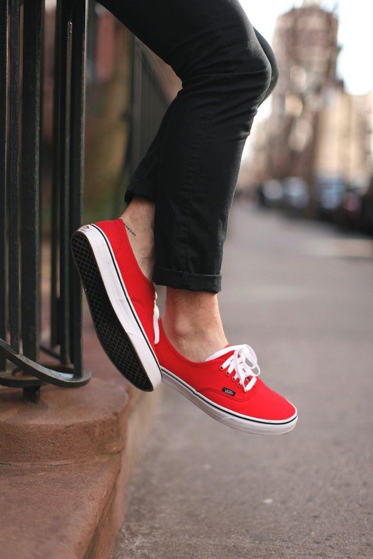Vans Red On Feet