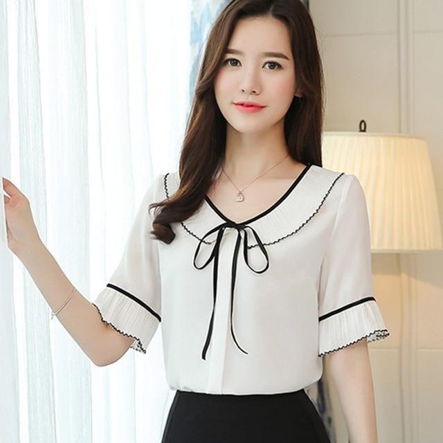 ef4d664352a Summer New Chiffon Shirt Female Round Neck Bow Tie Lotus Leaf  Blouserricdress
