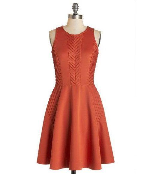 TW_5042 Short Rusty Red Dress