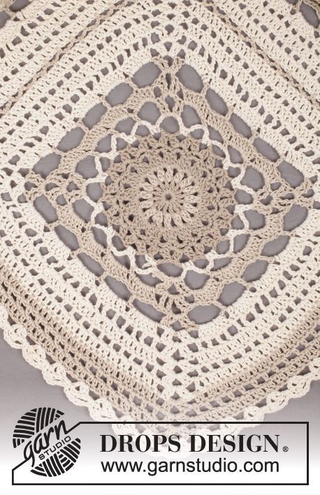 "Midsummer Joy - Poncho a ganchillo DROPS con cuadrados en ""Bomull-Lin"". Talla única - Free pattern by DROPS Design"
