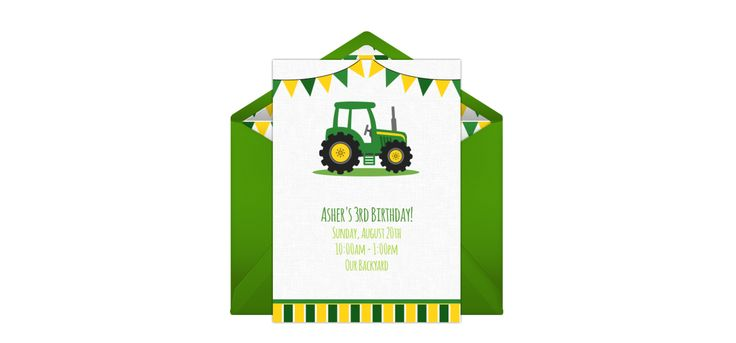Customizable, free Tractor Banner online invitations. Easy to personalize and send for a party. #punchbowl