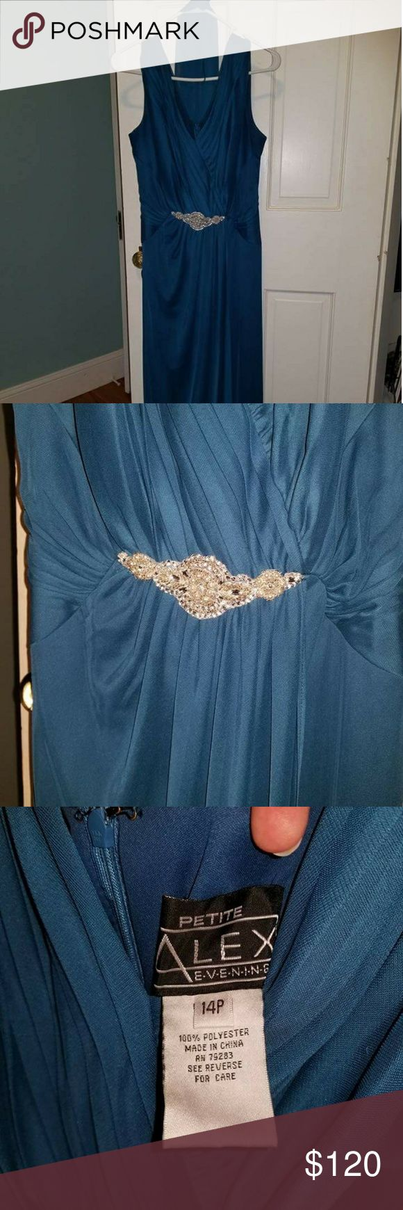 Alex Evenings formal dress with scarf Only worn once for my sister's wedding. Has jeweled faux clasp to add detail. Alex Evenings Dresses Wedding