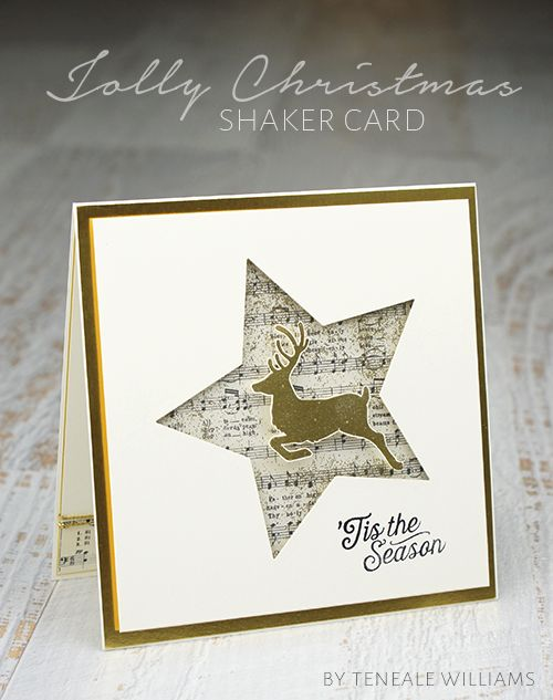 handmade shaker card by Teneale Williams ... star negative die cut backed with sheet music print ... great card!