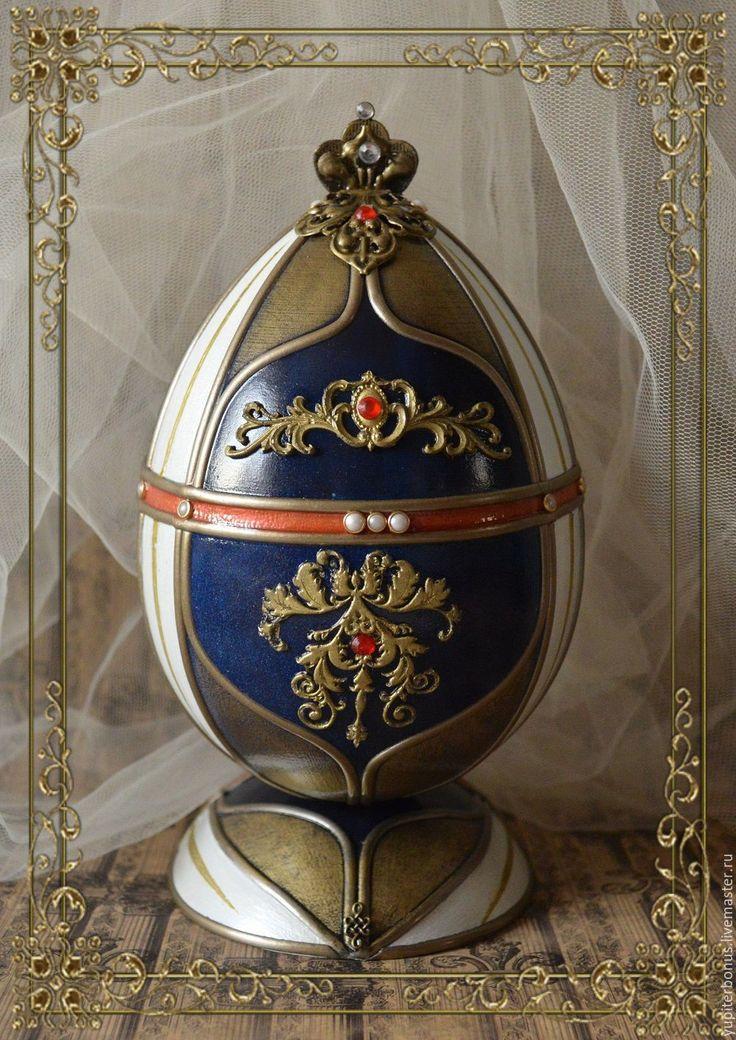 """Купить Яйцо декоративное """"Екатерина Великая"""" - тёмно-синий, яйцо, яйцо пасхальное, Декупаж, Пасха"""