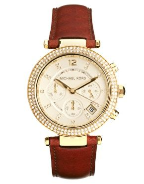 Michael Kors Brown Leather Strap Chronograph Watch $349.05 #ASOS >><< I wish!