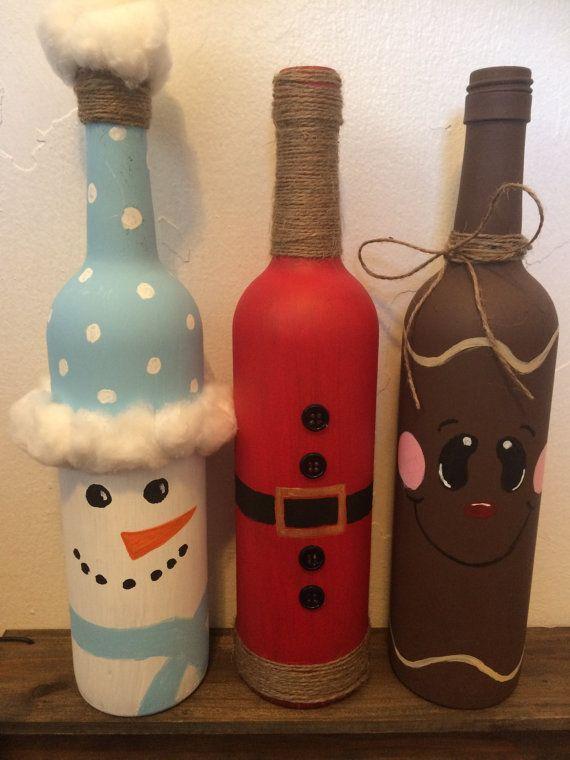 Muñeco de nieve vino botella por DarlinHomeDecor en Etsy                                                                                                                                                                                 Más                                                                                                                                                                                 Más